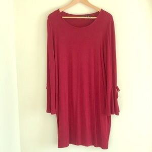 mercer & madison Dresses - ADORABLE RED DRESS WITH TIE BELL SLEEVES